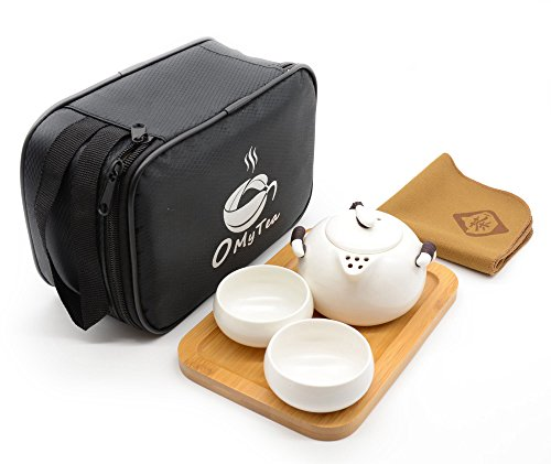 OMyTea® Portable Travel Tea Set – 100% Handmade Chinese / Japanese Vintage Kungfu Gongfu Tea Set – Porcelain Teapot  Teacups  Bamboo Tea Tray  Tea …