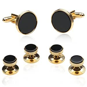 Black Onyx and Gold Cufflinks and Studs by Cuff-Daddy