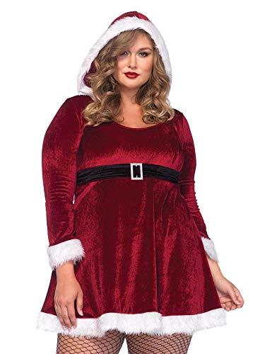 Womens Plus Size Santa Velvet Faux Fur Mrs Claus Dress- Complete with Tights ()