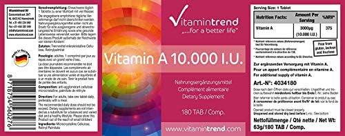 Vitamina A 10.000 U.I - Retinol - Vegana - alta dosificación - Sin ...
