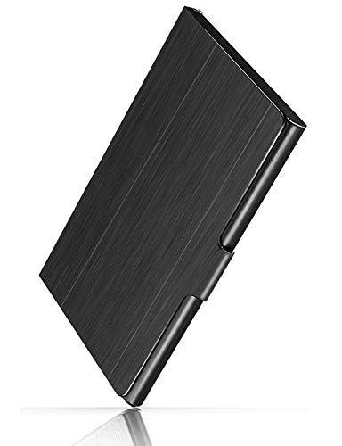 (MaxGear Professional Metal Business Card Holder Pocket Business Card Case Slim Business Card Wallet Business Card Carrier for Men & Women, 3.7 x 2.3 x 0.3 inches, Stainless Steel, Black)