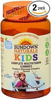 Sundown Naturals Kids Frozen Complete Multivitamin Gummies Strawberry Watermelon Raspberry - 60 ct, Pack of 2