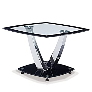 global furniture clearblack trim occasional end table with chrome legs black and chrome furniture