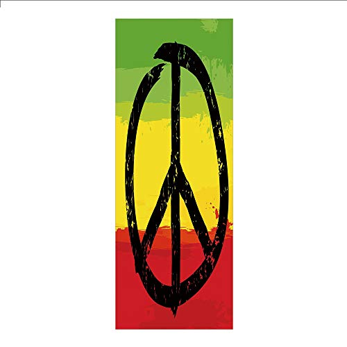 (3D Decorative Film Privacy Window Film No Glue,Rasta,Grunge Style Watercolor Design African Flag Colors Hippie Peace Sign Decorative,Black Green Yellow and Red,for Home&Office)