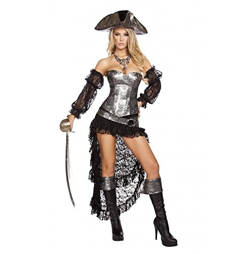 Roma Costume Women's 4 Piece Deadly Pirate Captain, Grey/Black, (Sexy Captain Costumes)