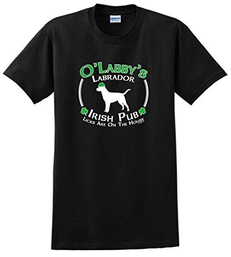 St Patricks Day Party Supplies St Patricks Day Dog Labrador Lab Irish Pub Sign T-Shirt Medium Black