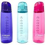 Sports Water Bottle 3-Pack Multi-Pack, 3 Colors - Eastman Tritan, BPA-Free, Leak-Proof - Secured & Locking Lid, Break-Resistant - 30oz (900mL) - by Unity (Purple/Turquoise/Pink)