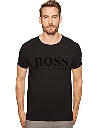 Boss Orange Men's Crew Neck Tee With Tonal Velvet Logo