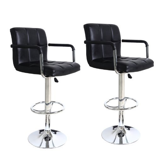 Black Faux Tufted Leatherette Adjustable Barstool Chair with Armrests Chrome Finish Pedestal Base (Set of two)