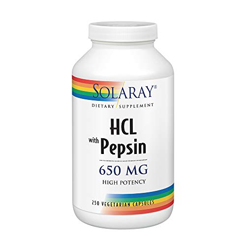 Solaray High Potency Betaine HCL with Pepsin 650 mg | 250 VegCaps (Best Time Of Day To Take Nexium Tablets)