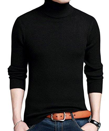 Moda M Manica Nero Lunga Maglioni S amp; amp; Uomo Pullover W Alto Collo zw11qa4nx