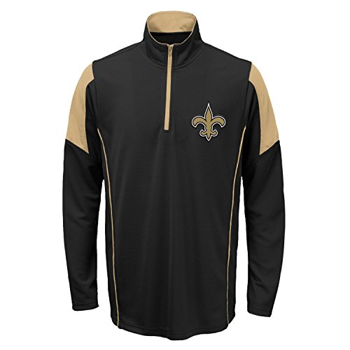 Outerstuff New Orleans Saints Youth NFL Lightweight 1/4 Zip Pullover Long Sleeve Shirt (New Saints Orleans Jacket Pullover)