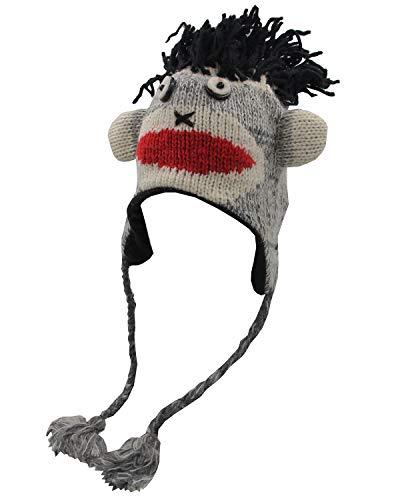 (KayJayStyles Nepal Hand Knit Ear Flaps Beanie Ski 100% Wool Fleeced Animal Hat/Cap (Black Sock Monkey))