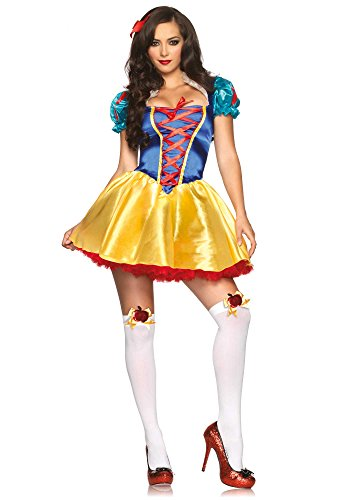 Avenue Lace Up Costume (Disney Leg Avenue Women's 2 Piece Fairytale Snow White Costume, Multi, Small/Medium)