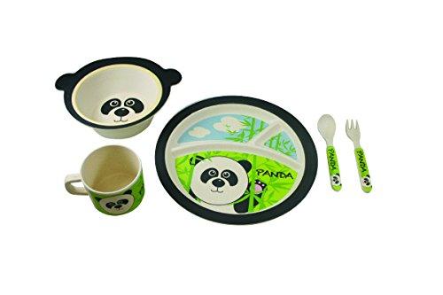 EcoBamboo Ware Kids Bamboo Dinnerware Set, Parker Panda, 5 Count (Studio Bamboo)