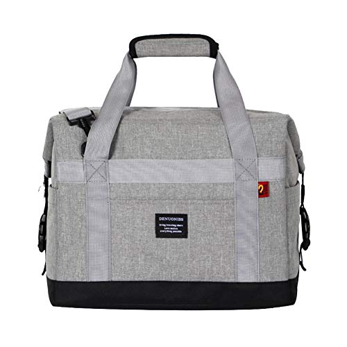 Slin 25L Outdoor Picnic Cooler Bag Insulated Lunch Box Leakproof Soft Cooler Tote Shoulder bag for Camping Party Beach BBQ Grey