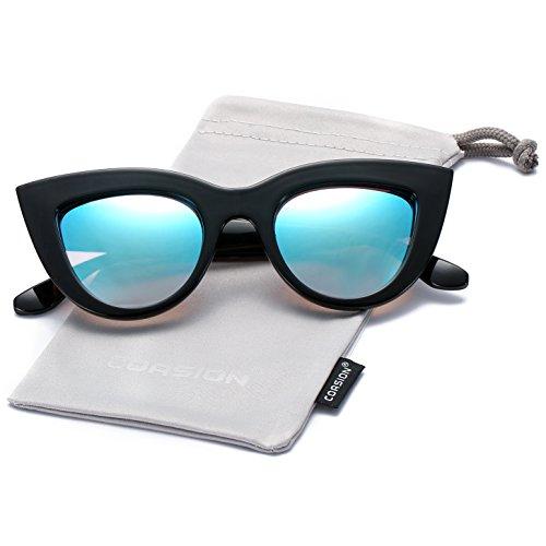 COASION Retro Cat Eye Sunglasses for Women Bold Vintage Mirrored Lens Eyewear (Black Frame/Blue Mirrored Lens, - Cat Eye Sale For Vintage Glasses