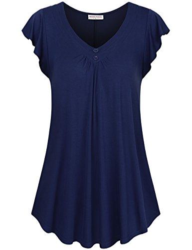 MOOSUNGEEK Flutter Sleeve Top, Womens V Neck Blue Elegant Casual Wear Tunic Blue S