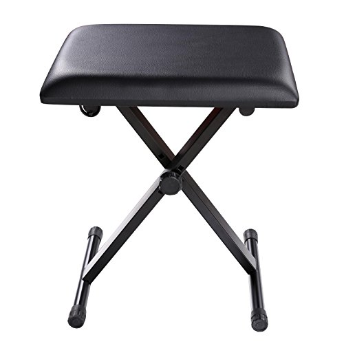 Adjustable Piano Keyboard Bench Leather Padded Seat Folding Stool Chair with Rubber Feet (For Sale Cane Stools)