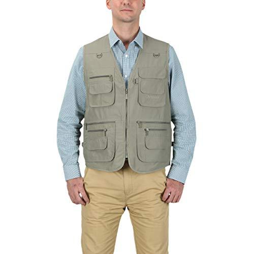 LUSI MADAM Men's Poplin Outdoors Travel Sports Pockets Vest US 5XL/Asia 8XL Green