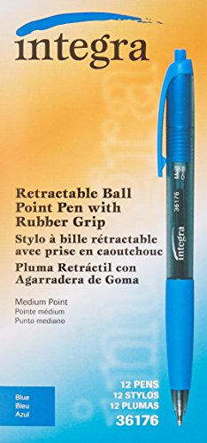 Integra Ballpoint Pen, Retractable, Nonrefillable, Medium Point, Blue Barrel/Ink (ITA36176)
