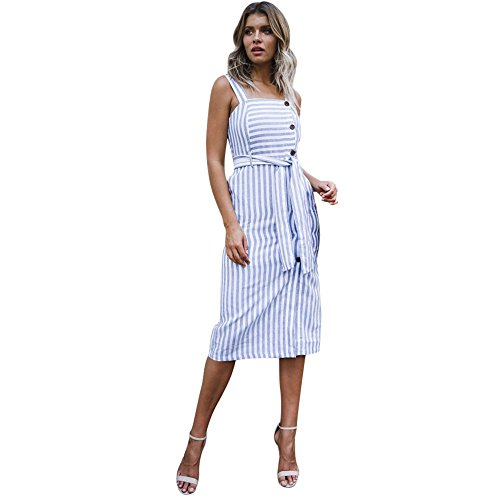 Sanyyanlsy Womens Cotton Bohemian Striped Sash Bandage Camis Dress Spaghetti Strap Button Empire Knee Length Dress Blue