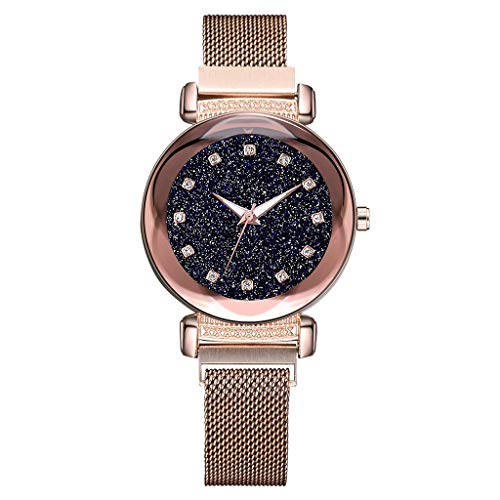 (LUXISDE Watch Women Fashion Starry Sky Mosaic Diamond Quartz Mesh Belt Magnetic Buckle Ladies Watch Rosegold)