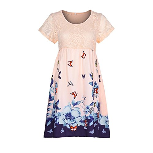 BODOAO Women Plus Size Dresses Floral Printed Short Sleeve Lace Stitching Loose Beach (Sparkle Lace Corset)