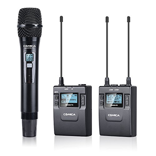 Comica Wireless Handheld Microphone CVM-WM300(B) UHF 96-Channel Zinc Alloy Chargeable Wireless Lavalier Microphone System for Canon 5DIII,6D, Panasonic, XLR Camcorder Camera(394-Foot (Camera Uhf Wireless System)