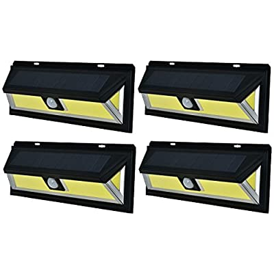 SOLAR MOTION SENSOR COB LED LIGHT By Mighty Power, Ultra Bright 700 Lumens, Perfect For Illuminating Patios, Outdoor Walkways and Pathways, Entries And Exits, Dark Alleys, RVs, Garages, Black