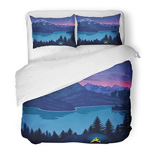 Emvency Bedding Duvet Cover Set Twin (1 Duvet Cover + 1 Pillowcase) Evening Camp Near Beautiful Mountains Lake Adventure Camping Scene with Tent Hotel Quality Wrinkle and Stain -