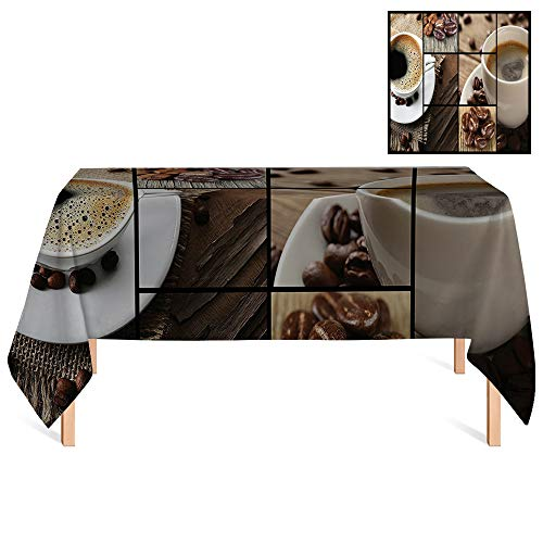 SATVSHOP Tablecloth /24x24 Square,Brown Coffee Themed Collage Close Up Mugs Beans on Wooden Table Aromatic Roasted Espresso Drink Brown.for Wedding/Banquet/Restaurant.