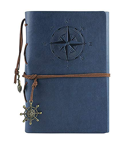 - Leather Writing Journal Notebook, Vintage Nautical Spiral Notebook Refillable Diary Sketchbook Travel Journals to Write in with Blank Pages and Retro Pendants (Deep Blue)