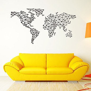 Geometric shapes world map wall stickers vinyl large square map wall geometric shapes world map wall stickers vinyl large square map wall decals home decor for kids gumiabroncs Image collections