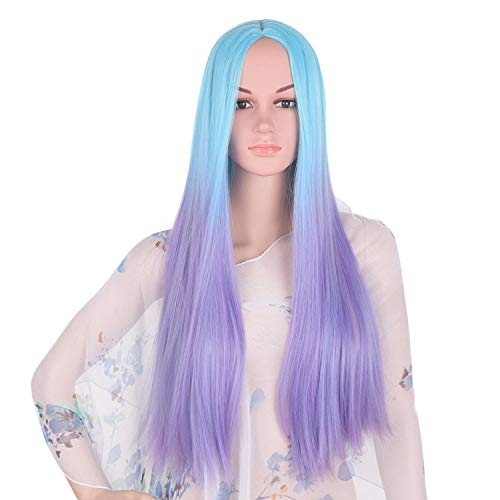 (Blue purple Wig Synthetic Hair 24inches 280g Long Straight Full Head Black Cosplay Wigs for Women Hair)