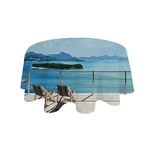 - YOLIYANA Beach Theme Decor Waterproof Round Tablecloth,Modern Tile Roof Top House with Garden and Sea View Image for Living Room,27