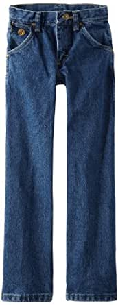 Wrangler Little Boys' Original Cowboy Cut George Strait Jeans, Heavy Denim Stone, 4 Regular