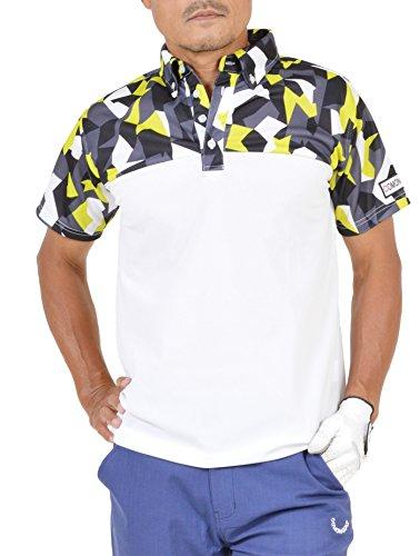 【コモンゴルフ】 COMON GOLF メンズ 吸水速乾 ボタンダウン 総柄 × 無地 切り替え 半袖 ゴルフ ポロシャツ CG-SP803N