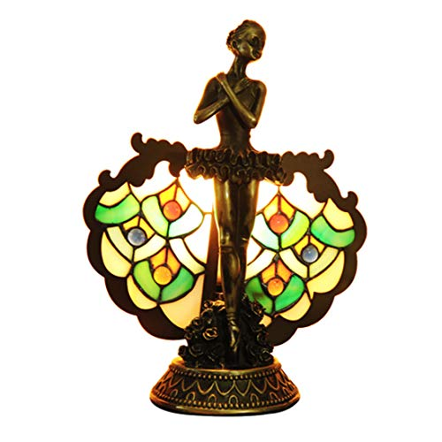 (Makenier Vintage Decorative Tiffany Style Stained Glass Peacock Feather Beauty Table Lamp Night Light)