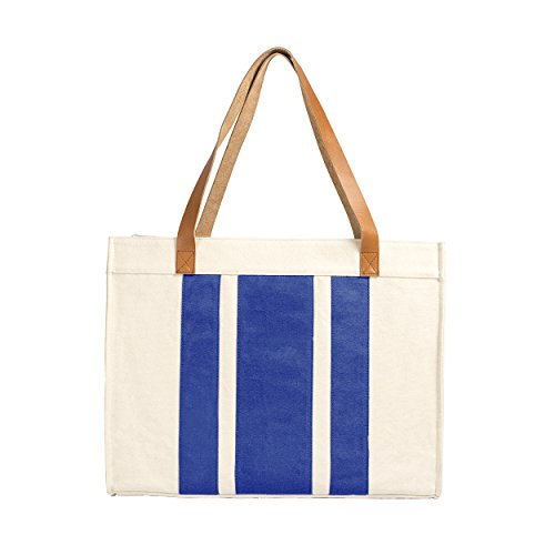 Cathy's Concepts Stitched Stripe Canvas Tote with Leather Handles, Blue