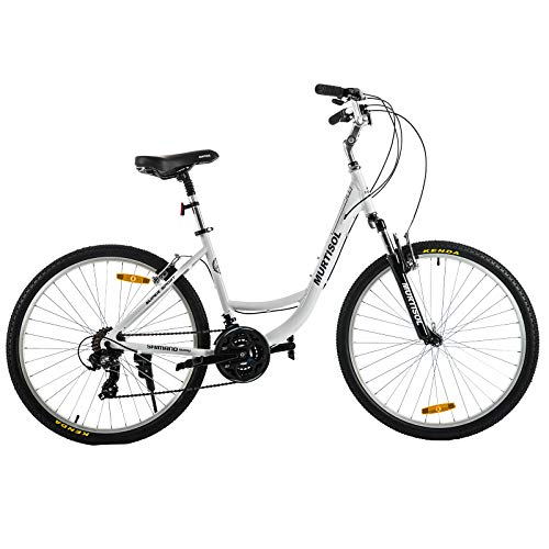 Murtisol Aluminum Comfort Bike 26'' Commuter Bike Mountain Bike Hybrid Bike for Men & Women 21 Speeds Derailleur, Front & Seat Suspension, Adjustable Seat & Handlebar,White