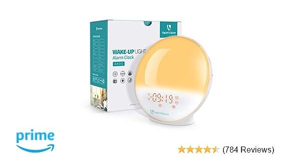 HeimVision Sunrise Alarm Clock, Smart Wake up Light Sleep Aid Digital Alarm Clock with Sunset Simulation and FM Radio, 4 Alarms /7 Alarm ...
