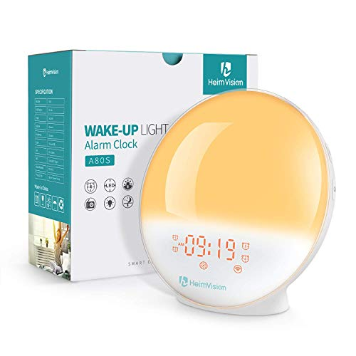 HeimVision Sunrise Alarm Clock, Smart Wake up Light Sleep Aid Digital Alarm Clock with Sunset Simulation and FM Radio, 4 Alarms /7 Alarm Sounds/Snooze/20 Brightness