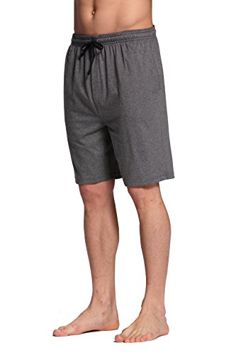 CYZ Men's 100% Cotton Knit Sleep Shorts-GreyNoStripe-L