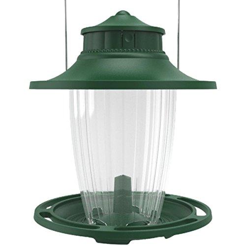 Stokes Select Bird Feeder, 5 Feeding Ports, 3.8 lb Bird Seed Capacity, Lantern-Style Wild Bird Feeder, Green - Green Tray Feeder