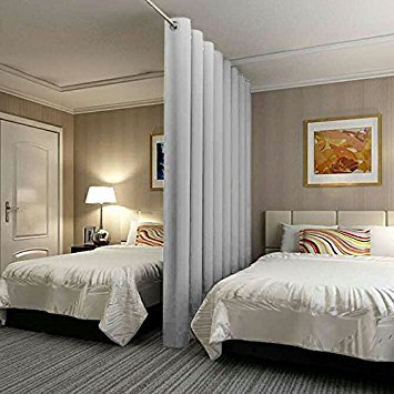 RHF Privacy Room Divider Curtain 8ft tall x 12.5ft Wide: No one can see through, Total Privacy(8x12.5)Grey (Divider Panel One Room)