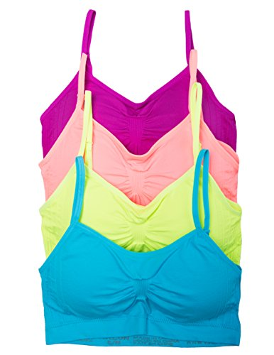 Kalon 2 or 4 Pack Nylon Spandex Removable Pads Comfort Bras (One Size S/M, 4PK Neons)