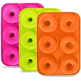 Donut Pan 3 Pack, HBlife 6 Cavity Non-Stick Full-Sized Silicone Donut Mold Baking Pan Tray Doughnut Pan Maker for Heat…