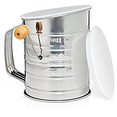 Natizo Stainless Steel 3-Cup Flour Sifter with Lid and Bottom Cover