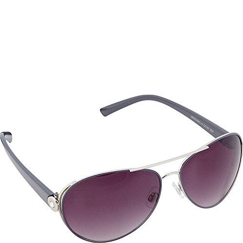 Circus by Sam Edelman Women's CC181 SLV Aviator Sunglasses, Silver & Grey, 62 - Sunglasses Sams